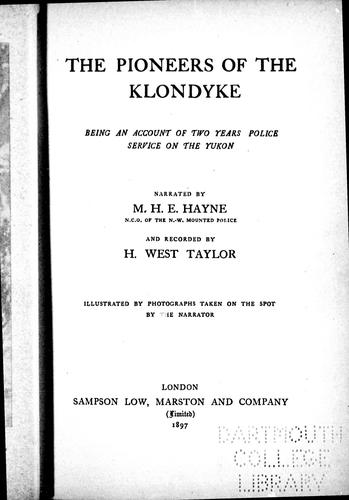 Download The pioneers of the Klondyke