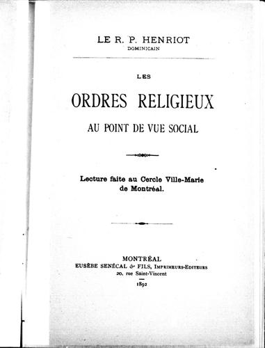 Download Les ordres religieux au point de vue social