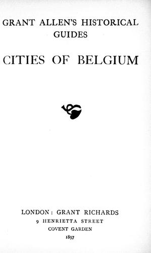 Cities of Belgium