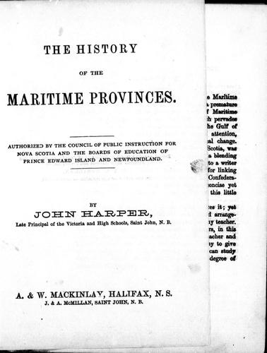Download The history of the Maritime Provinces