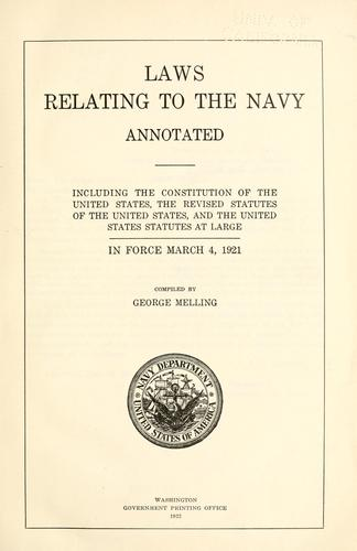 Laws relating to the navy, annotated