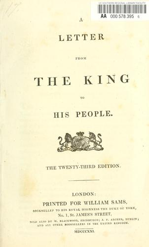 Download A letter from the king to his people.
