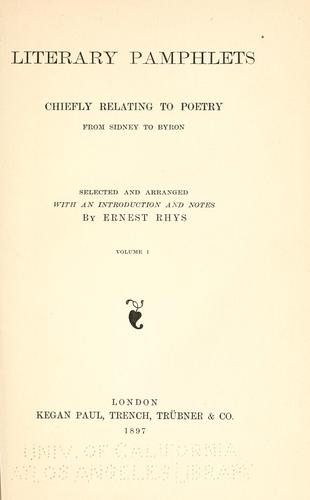 Download Literary pamphlets chiefly relating to poetry from Sidney to Byron