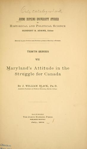 Maryland's attitude in the struggle for Canada.
