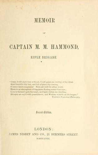 Download Memoir of Captain M. M. Hammond, rifle brigade.