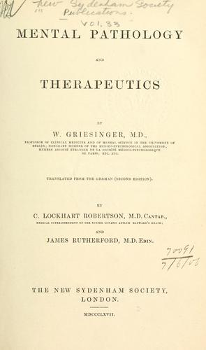 Mental pathology and therapeutics.
