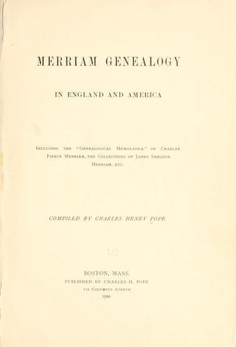 Download Merriam genealogy in England and America