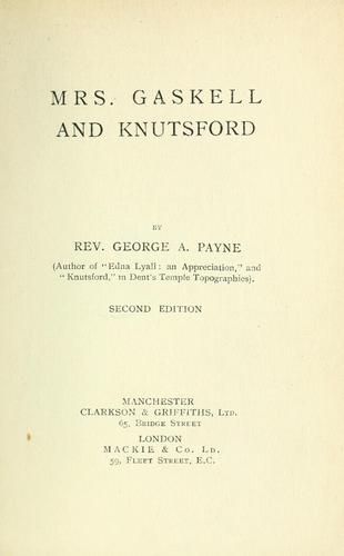 Mrs. Gaskell and Knutsford.