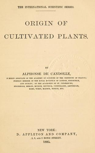 Origin of cultivated plants.