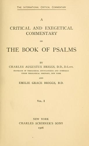 A critical and exegetical commentary on the book of Psalms