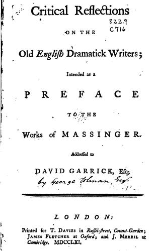 Critical reflections on the old English dramatick writers