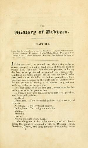 The history of Dedham