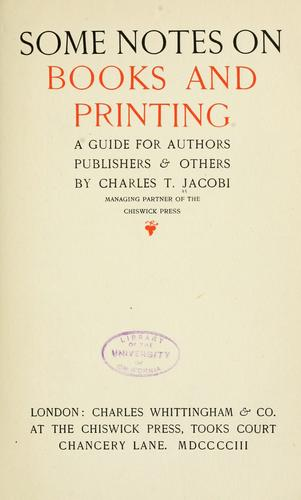 Download Some notes on books and printing