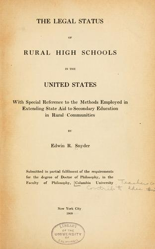 Download The legal status of rural high schools in the United States