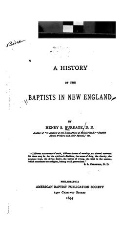 Download A history of the Baptists in New England