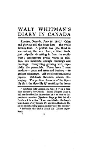 Walt Whitman's diary in Canada