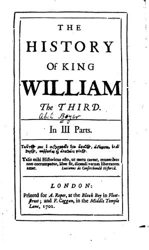 The history of King William the Third