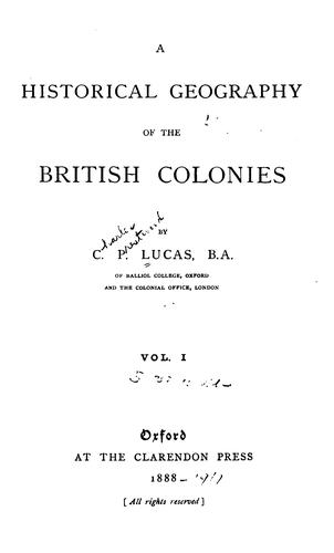 Download A historical geography of the British colonies.