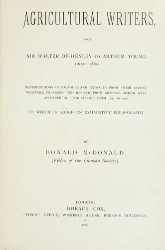 Download Agricultural writers from Sir Walter of Henley to Arthur Young, 1200-1800.