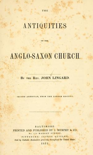 Download The antiquities of the Anglo-Saxon church