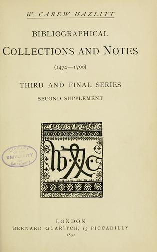 Bibliographical collections and notes (1474-1700)