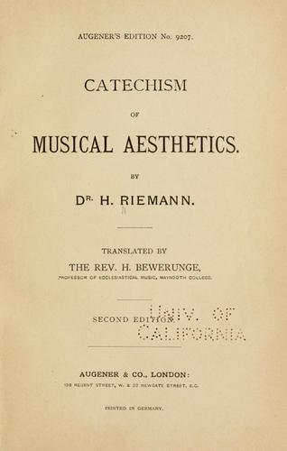 Catechism of musical aesthetics.