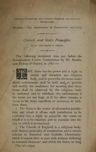 Chur ch and state principles by William Stubbs