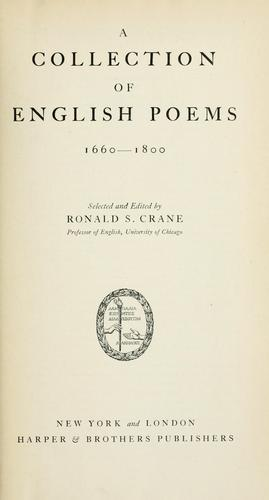 A collection of English poems, 1660-1800 by Ronald S. Crane