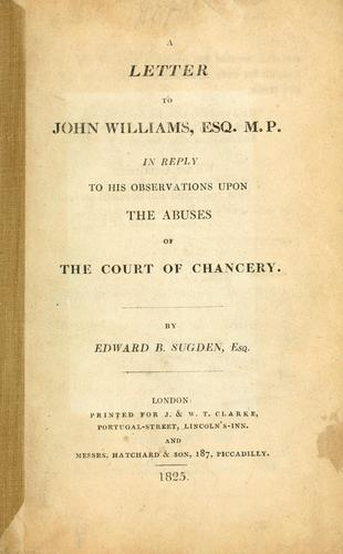 A letter to John Williams by Edward Burtenshaw Sugden