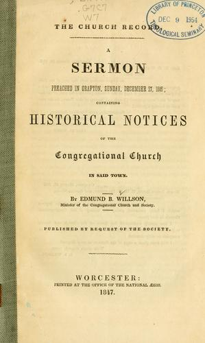 The church record by Edmund Burke Willson