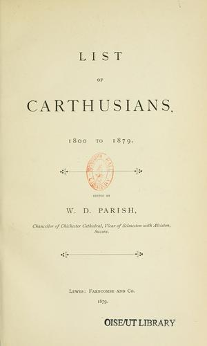 List of Carthusians, 1800 to 1879 by