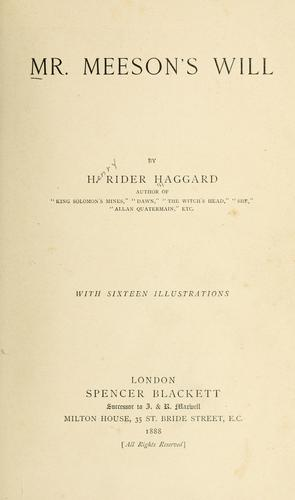 Mr. Meeson's will by H. Rider Haggard