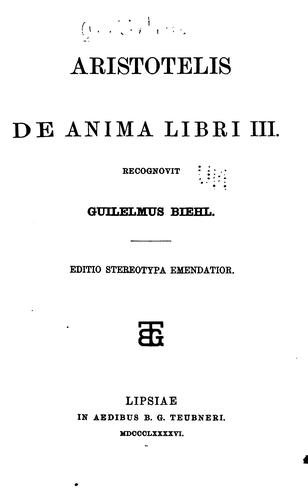 De anima libri III by Aristotle