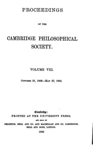 Proceedings of the Cambridge Philosophical Society by Cambridge Cambridge Philosophical Society