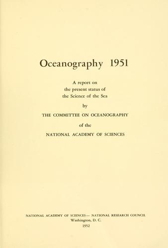 Oceanography, 1951 by National Research Council (U.S.). Committee on Oceanography.