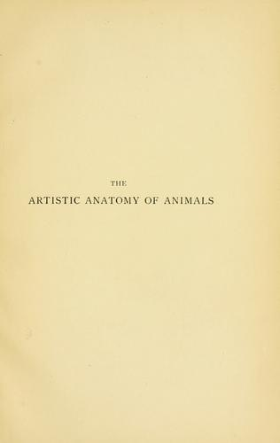 Artistic anatomy of animals by Édouard Cuyer